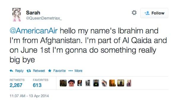 Adolescente Tweet America Airlines Terroriste