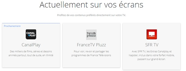ChromeCast CanalPlay FranceTV Pluzz SFR TV