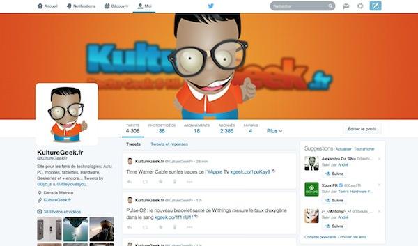 Nouveau Profil Twitter Mars 2014 KultureGeek