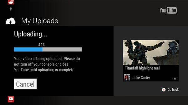 YouTube Upload Video Xbox One