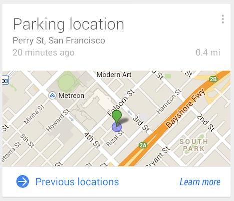 Google Now Emplacement du stationnement