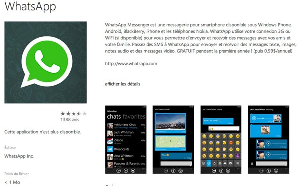 WhatsApp Windows Phone Indisponible