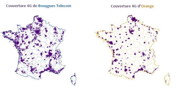 Couverture 4G Arcep Juillet 2014 Orange Bouygues