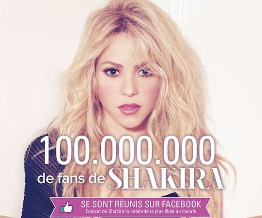 Shakira 100 Millions Jaime Facebook