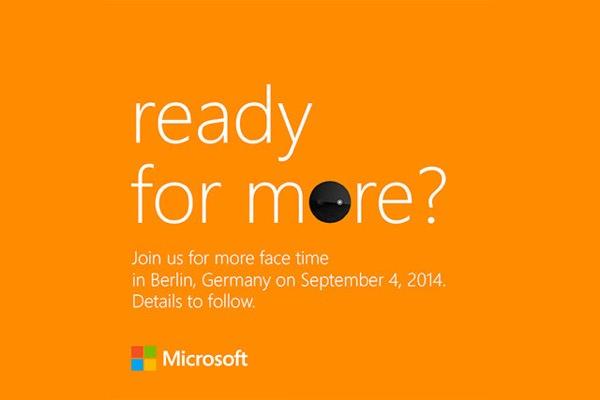 Invitation Smartphone Selfie Microsoft 4 septembre 2014