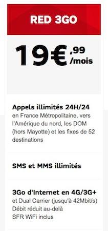 SFR RED Forfait 4G 19,99 Euros