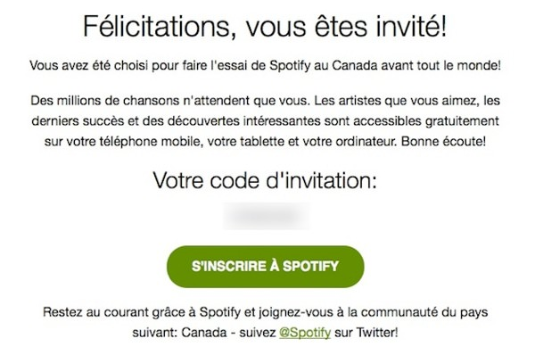 Spotify Invitation Canada