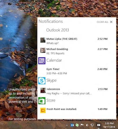 Windows 10 Technical Preview Action Center