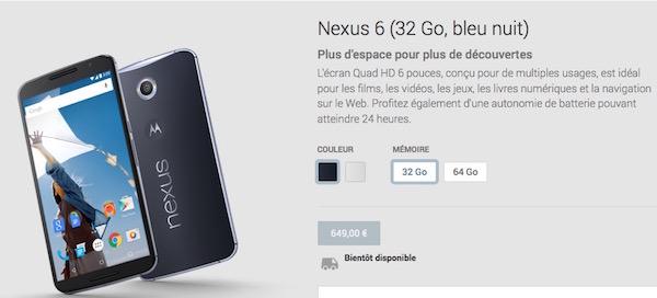 Nexus 6 Google Play France