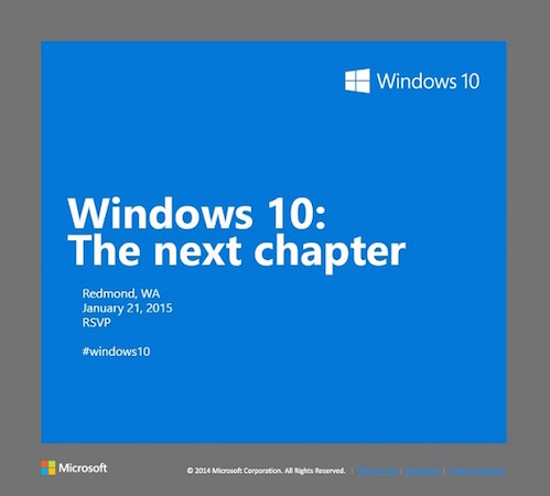 Conference Microsoft Windows 10 21 Janvier 2015