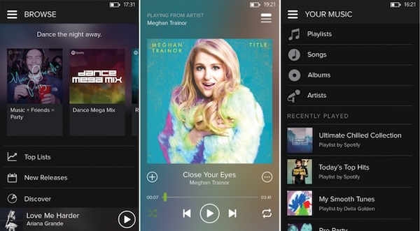 Spotify Windows Phone Nouveau Design Sombre