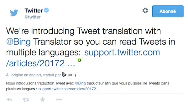 Twitter Traduction Bing