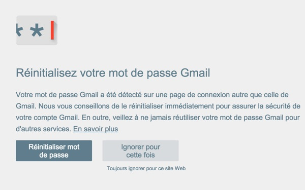Alerte Mot de Passe Extension Google Chrome