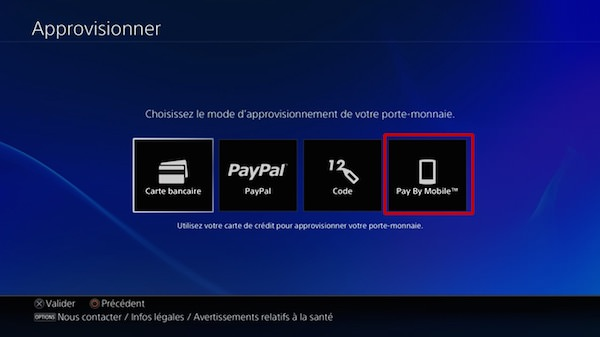 PlayStation Store Paiement Mobile