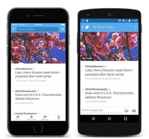 Twitter Nouvelles Tendances Mobile