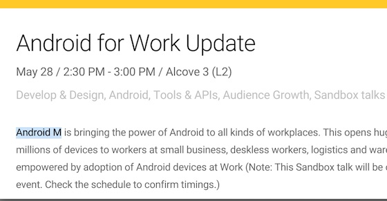 Android M Calendrier Conference IO