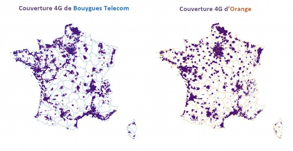 Couverture 4G Bouygues Orange Arcep Mai 2015
