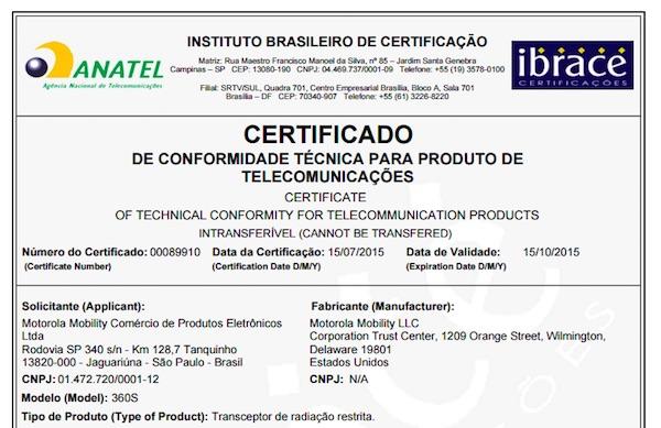 Certification Moto 360S