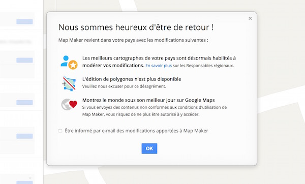 Google Maps Map Maker Rouvert France