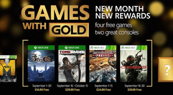 Xbox Live Gold Jeux Offerts Septembre 2015