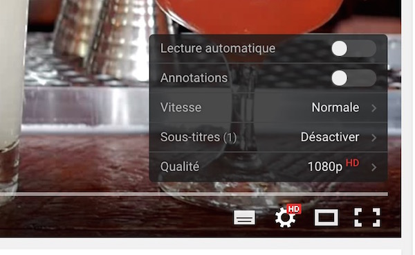 YouTube Lecteur Transparent Reglages