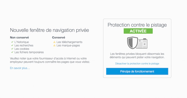 Firefox 42 Navigation Privee Pistage