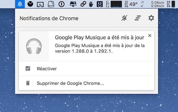 Chrome Centre de Notifications