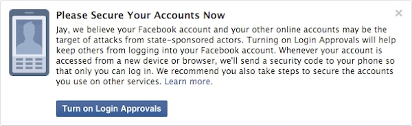 Facebook Alerte Espionnage Gouvernement