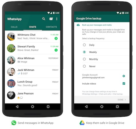 WhatsApp Google Drive Sauvegarde