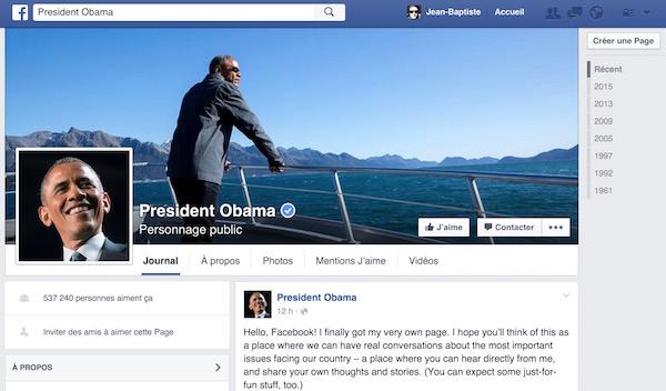 Barack Obama Page Facebook