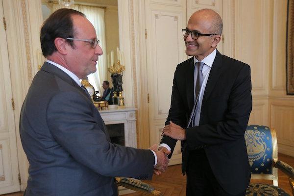 Francois Hollande Satya Nadella