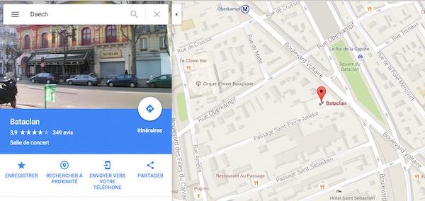 Google Maps Daech Bataclan