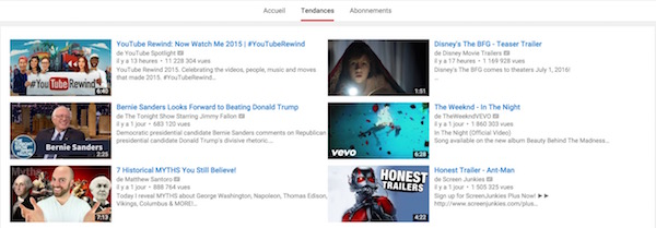 YouTube Tendances