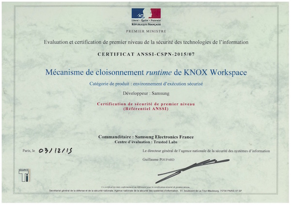 Samsung KNOX Certification ANSSI