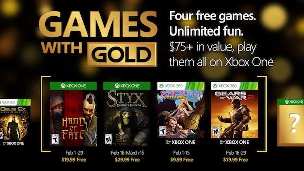 Xbox Live Gold Fevrier 2016