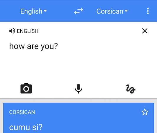 Google Traduction Corse