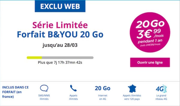 bouygues telecom propose son forfait 4g 20 go pour seulement 3 99 mois kulturegeek. Black Bedroom Furniture Sets. Home Design Ideas