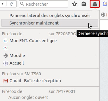 Firefox 45 Onglets Synchronises