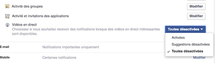 Facebook Desactiver Notifications Video Direct
