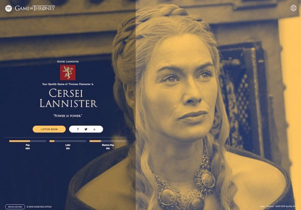 Spotify Game of Thrones
