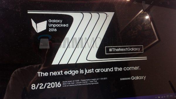 Fuite Invitation Galaxy Note 7
