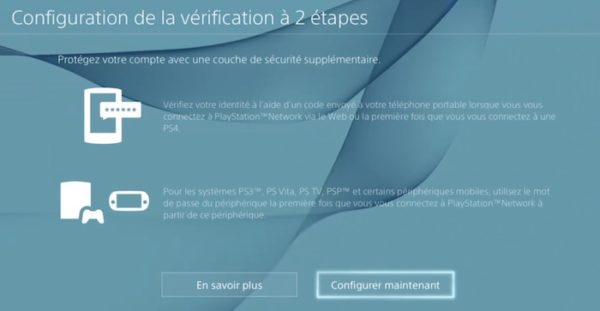 PlayStation Network Verification Deux Etapes