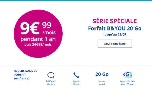 Promo Bouygues Telecom Forfait Aout 2016