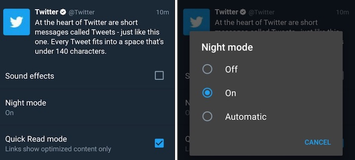 twitter teste l 39 activation du mode nuit de mani re automatique dans son application kulturegeek. Black Bedroom Furniture Sets. Home Design Ideas