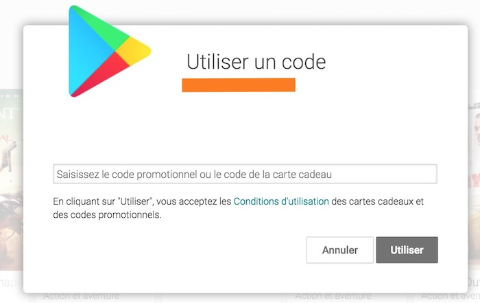 Coupon code play store