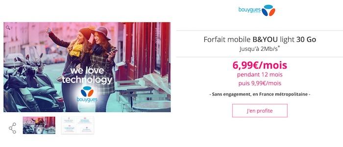 promo forfait bouygues appels sms mms illimit s 30 go d 39 internet d bit brid 6 99 mois. Black Bedroom Furniture Sets. Home Design Ideas