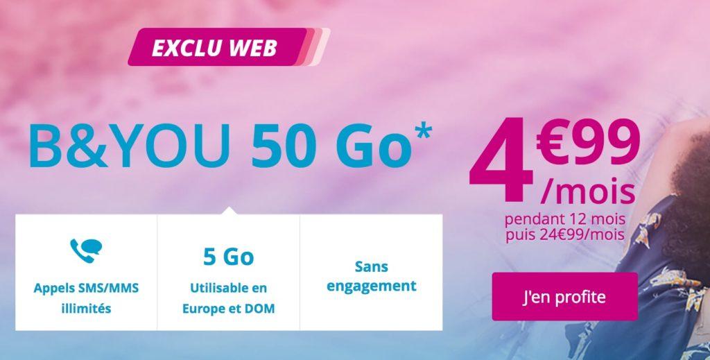 promo bouygues r pond free mobile avec un forfait 50 go 4 99 mois pendant un an