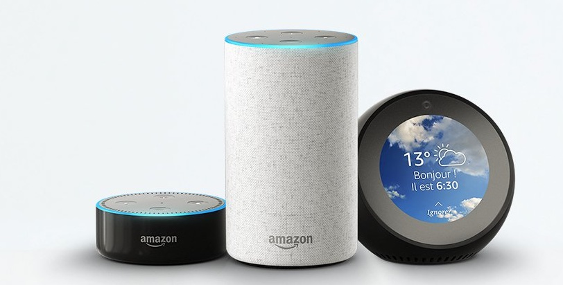 amazon commercialise ses enceintes connect es echo avec. Black Bedroom Furniture Sets. Home Design Ideas
