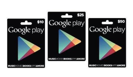 Google Play Cartes Cadeaux