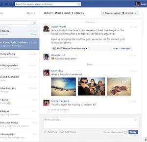 interface messagerie facebook